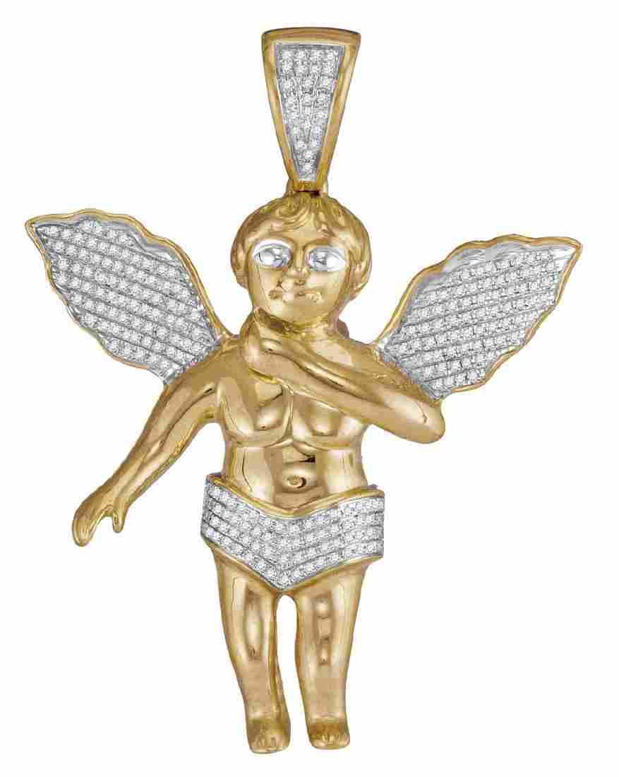0.55 CTW Diamond Mens Polished 3D Guardian Angel Cherub