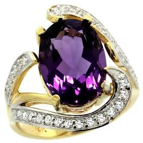 Natural 6.22 ctw amethyst & Diamond Engagement Ring 14K