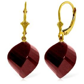 Genuine 30.5 ctw Ruby Earrings Jewelry 14KT Yellow Gold