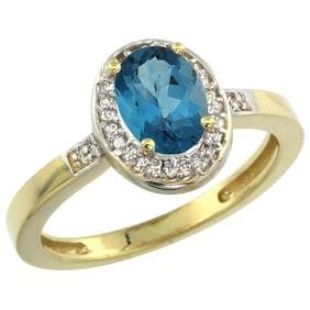 Natural 1.08 ctw London-blue-topaz & Diamond Engagement