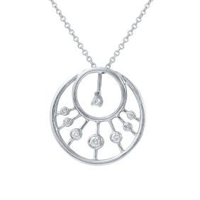 Genuine 0.29 TCW 14K White Gold Ladies Necklace -