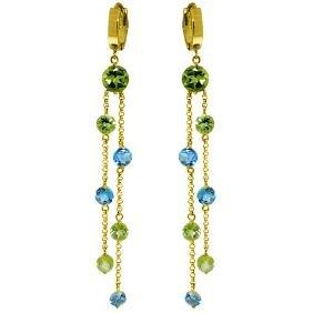 Genuine 8.99 ctw Blue Topaz & Peridot Earrings Jewelry