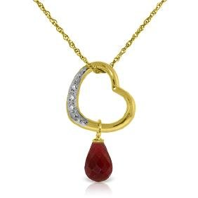 Genuine 3.33 ctw Ruby & Diamond Necklace Jewelry 14KT