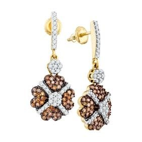 1.05 CTW Cognac-brown Colored Diamond Cluster Dangle