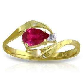 Genuine 0.51 ctw Ruby & Diamond Ring Jewelry 14KT