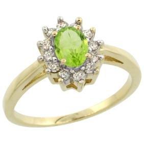 Natural 0.67 ctw Peridot & Diamond Engagement Ring 10K