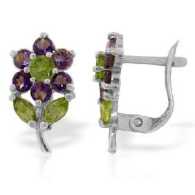 Genuine 2.12 ctw Peridot & Amethyst Earrings Jewelry