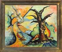 Wilhelm Surrealism Oil on Canvas Hare and Turtle