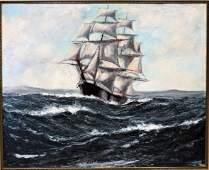 Jonas Lie, oil on board, Full Sail Ship On Sea painting