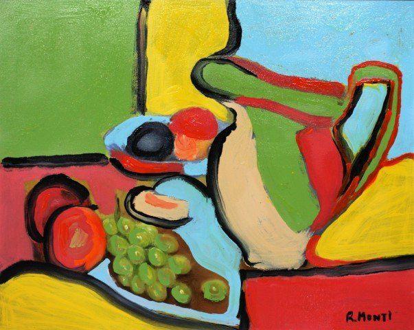 R. Monti, Mid Century Abstract Oil Still Life