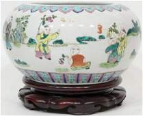 Oriental Chinese Bowl flower Pot on stand