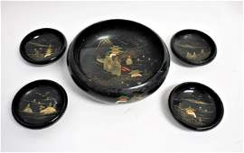 Vintage Chinese Black Lacquered Salad Bowl Set