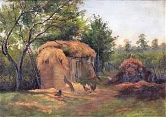 G Henshaw, Oil/c, Barnyard Roosters, Thatch Roof Barn E