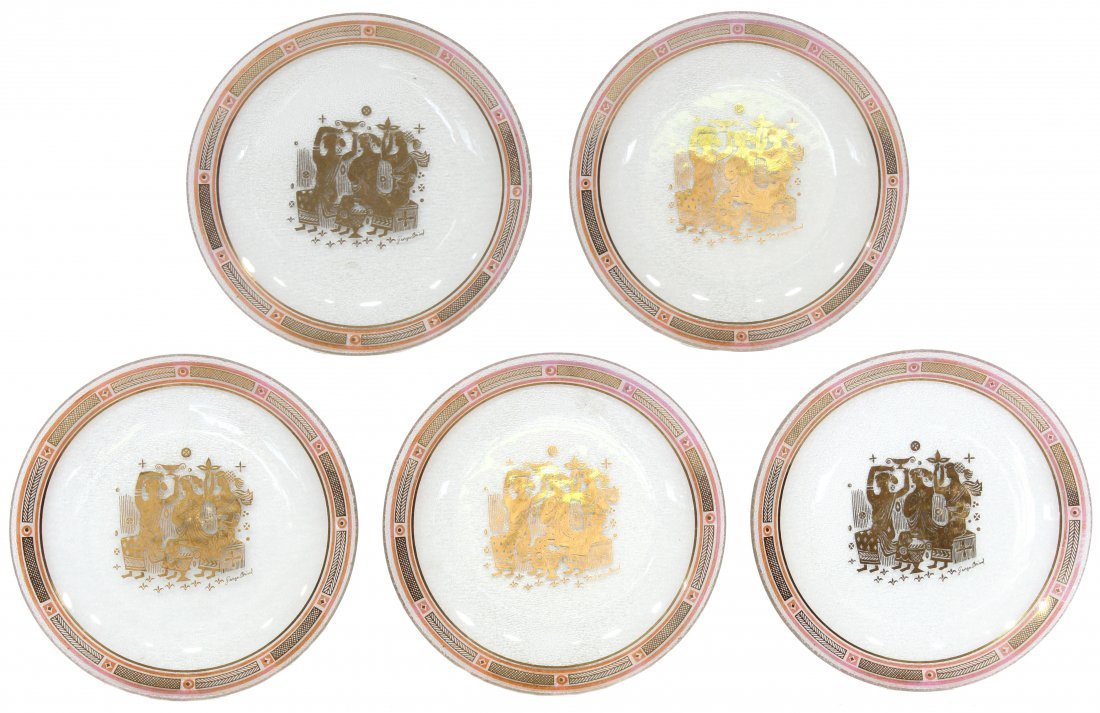 Georges Briard pink serving plates Five (5)