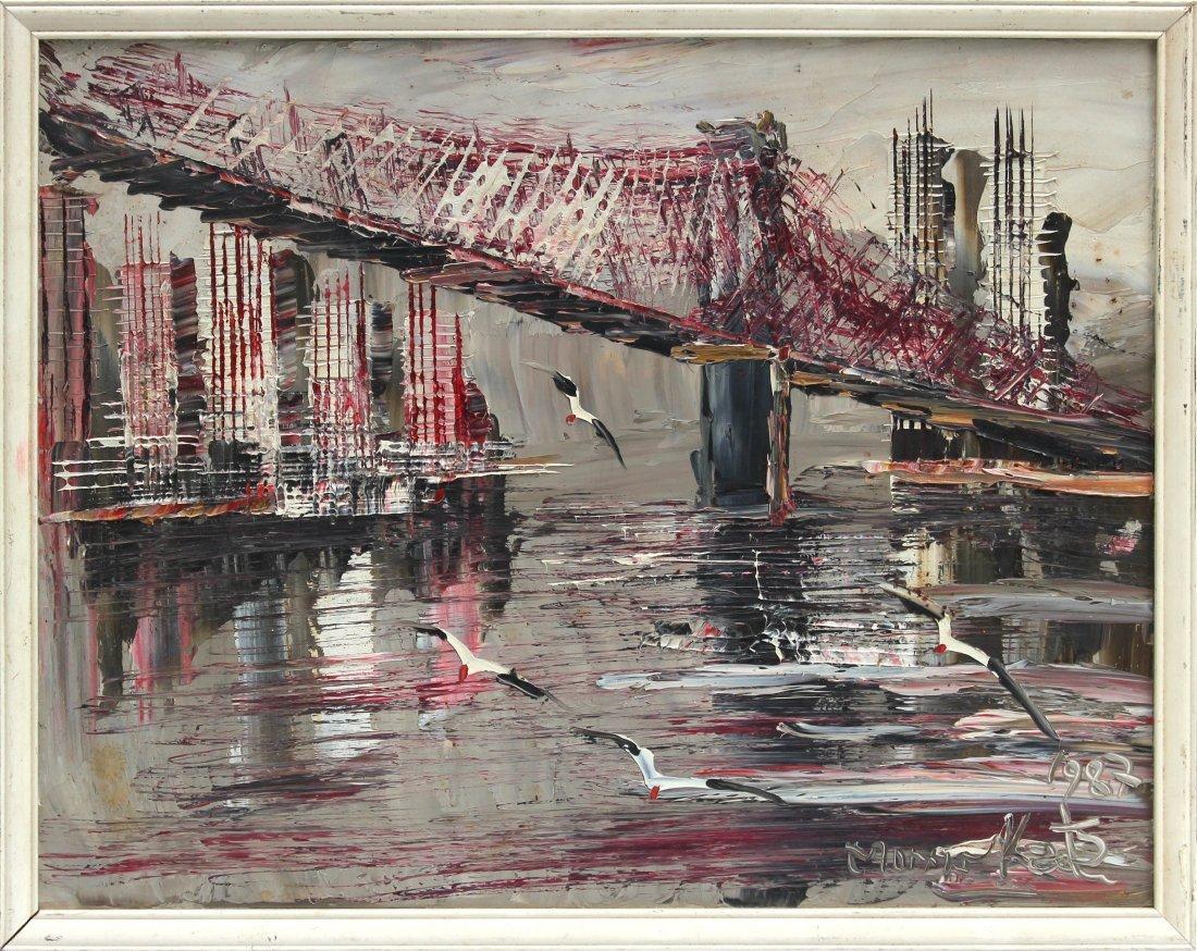 Morris Katz NYC Brooklyn bridge & Twin Towers Oil