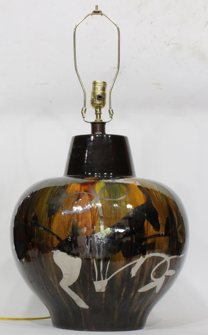 Mid Century Modern Art Pottery Lamp Silver Decorated