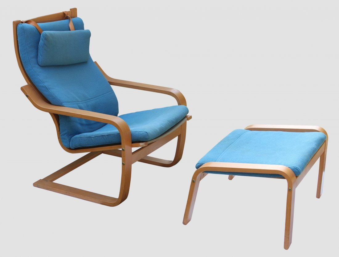 Poang Chair With Ottoman Mid Century Modern