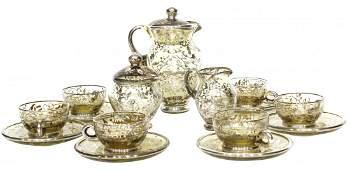 Antique Silver Overlay Tea Set