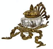 French Victorian Brass Inkwell