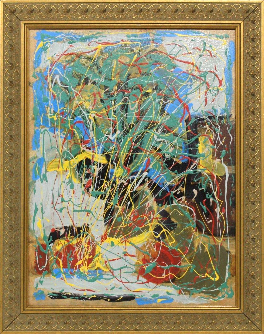Mid-Century Mod Action Drip Art Painting Pollock Style