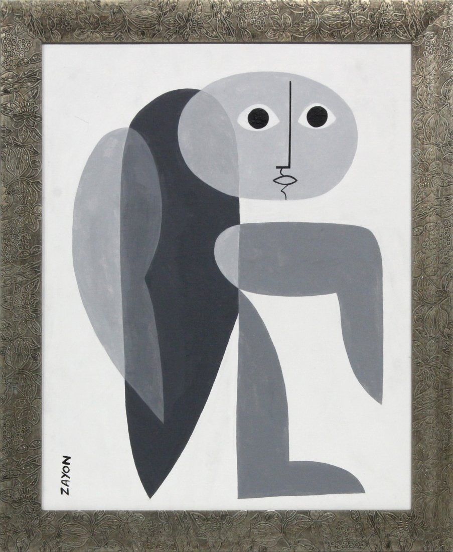 Seymour Zayon Mid-Century Modern Abstract figure oil
