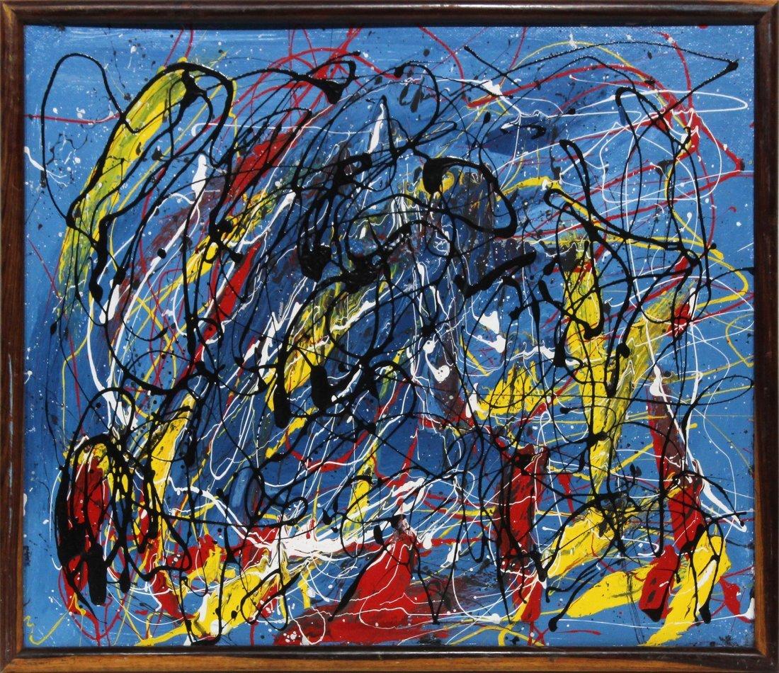 Mid-Century Mod Drip Art Action Painting Pollock Style