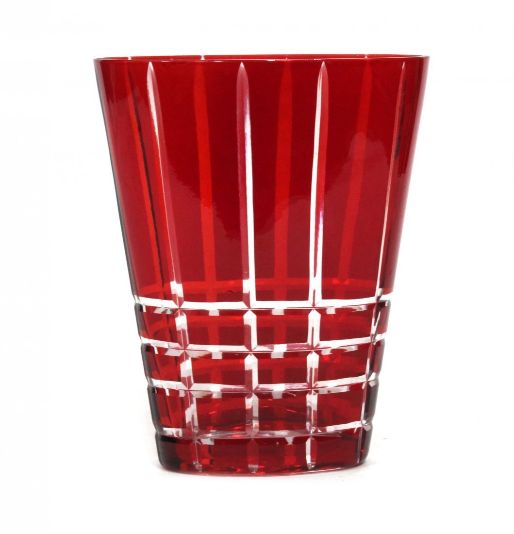 Red cut to Clear Vase Mid-Century Modern