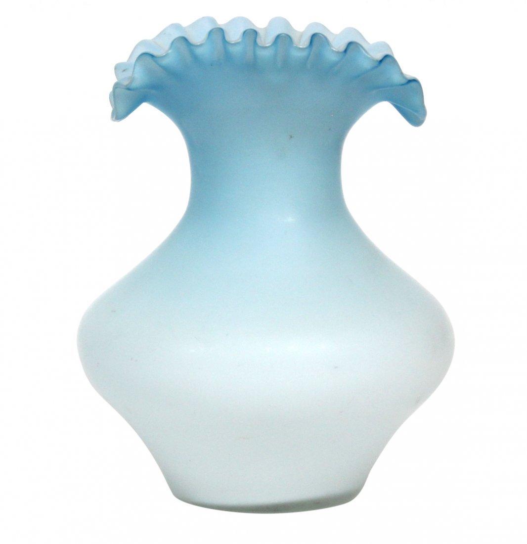 Mt. Washington Cased Glass Vase Ruffled Flare Top