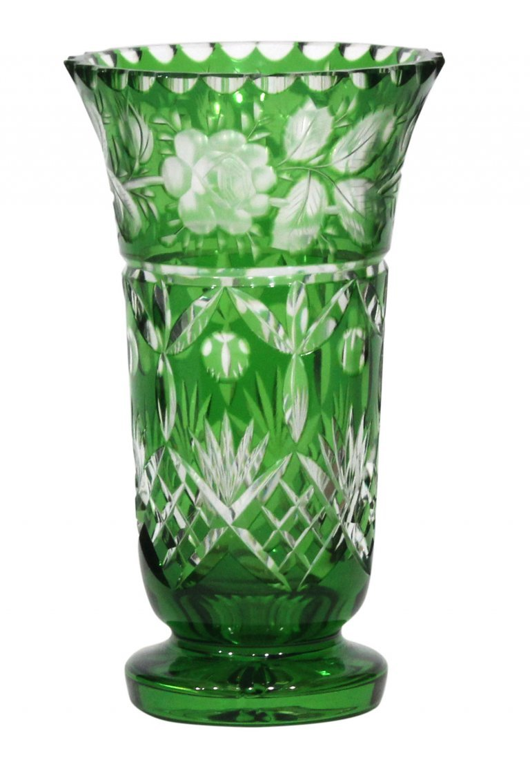 Bohemian Glass Vase Green Cut to Clear Florals