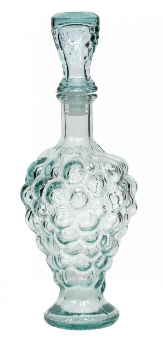 Ice Blue Wine Decanter Embossed Grapes Base