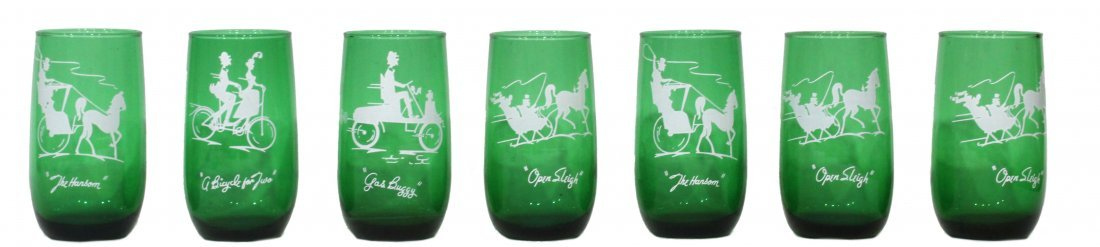 7 Novelty Glasses circa 1940 Green With Fun Scenes