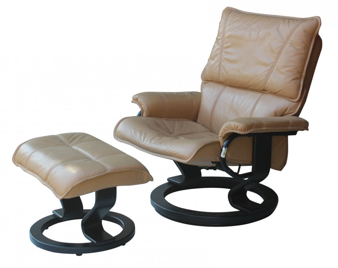 sc 1 st  LiveAuctioneers & Ekornes style Restless Lounge Chair in Tan leather