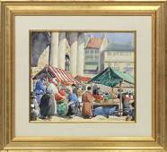JANE PETERSON 18761965 Watercolor OUTDOOR MARKET