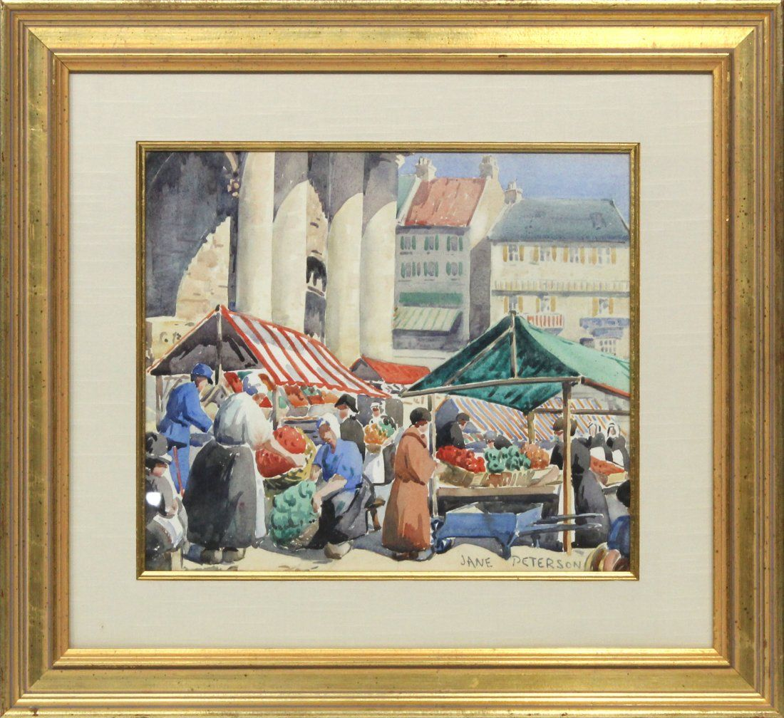 JANE PETERSON [1876-1965], Watercolor OUTDOOR MARKET