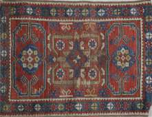 Antique SMALL PERSIAN SCATTER RUG  Geometeric