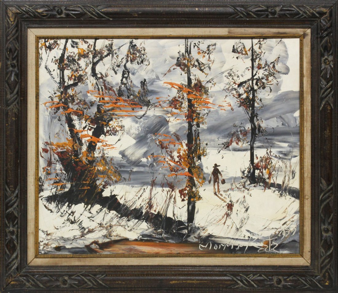 Morris Katz 1977 Oil Painting Snow Scene