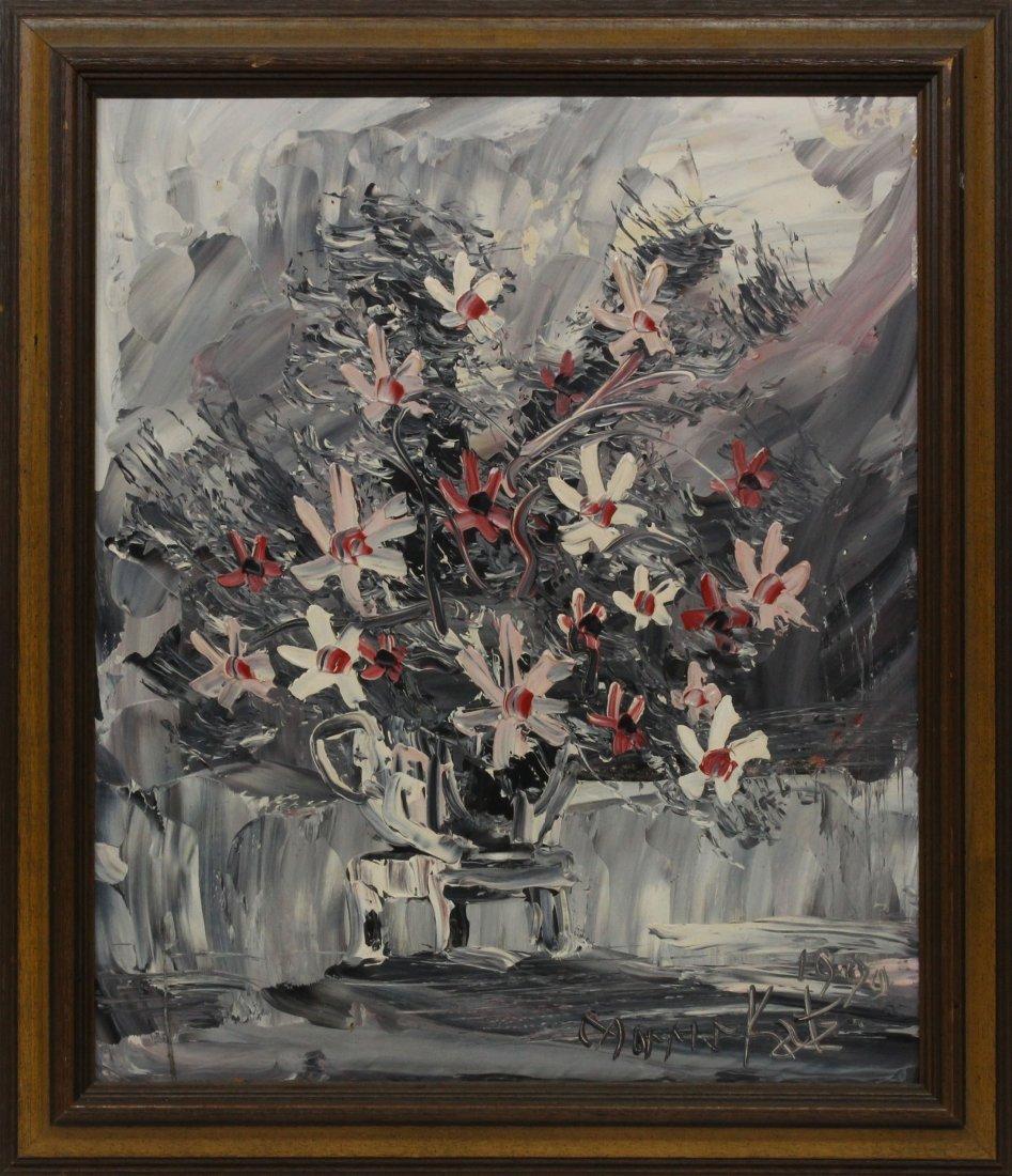 Morris Katz 1999 Original Oil Painting 24 20 flowers