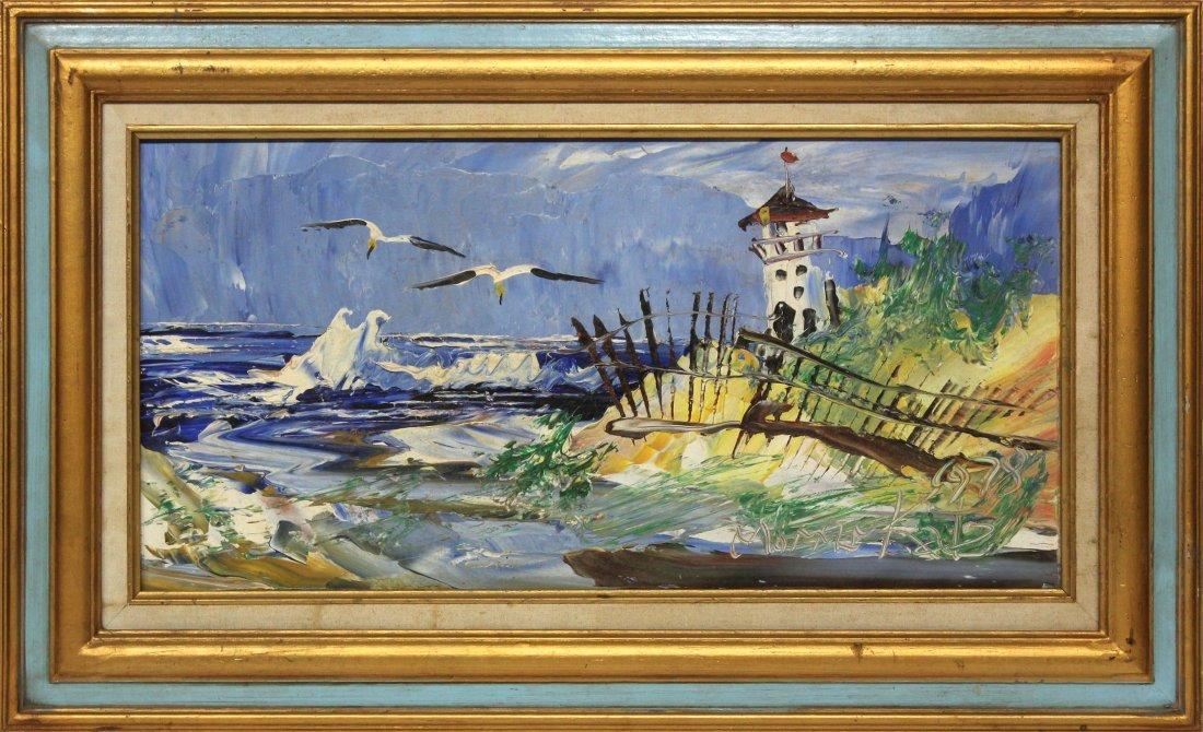 Morris Katz 1978 Original Oil Painting 24 12 beach hous