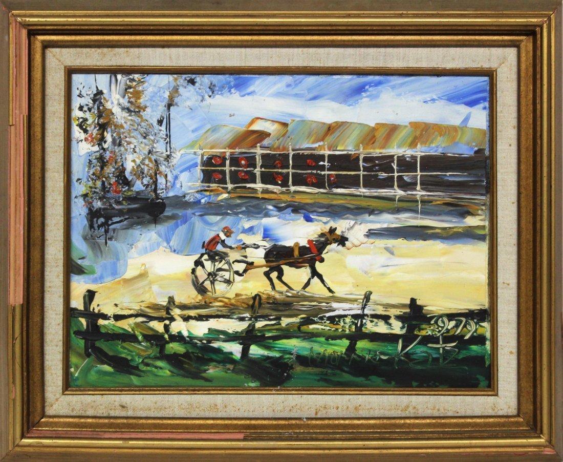 Morris Katz 1979 Original Oil Painting 12 16 horse race