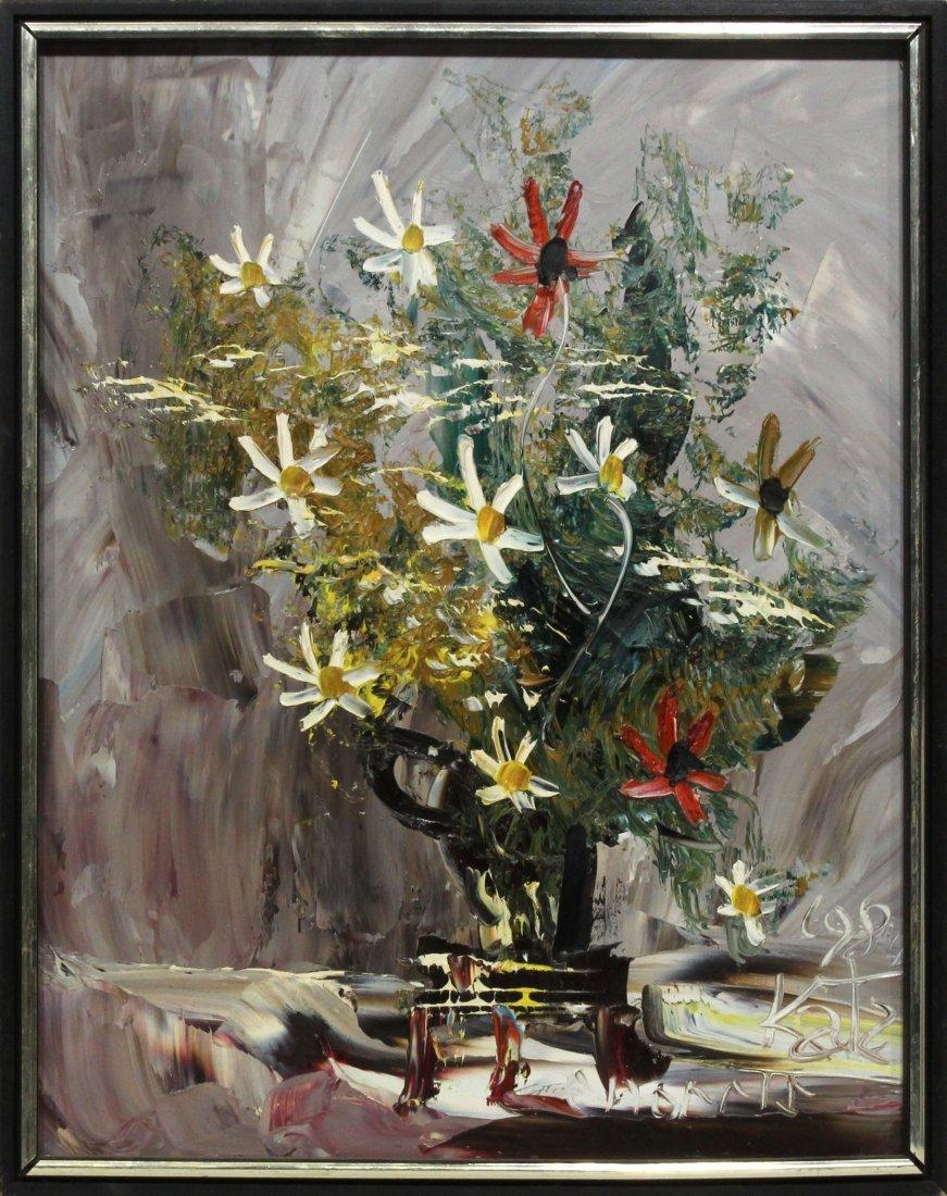 Morris Katz 1984 Original Oil Painting 20 16 flowers