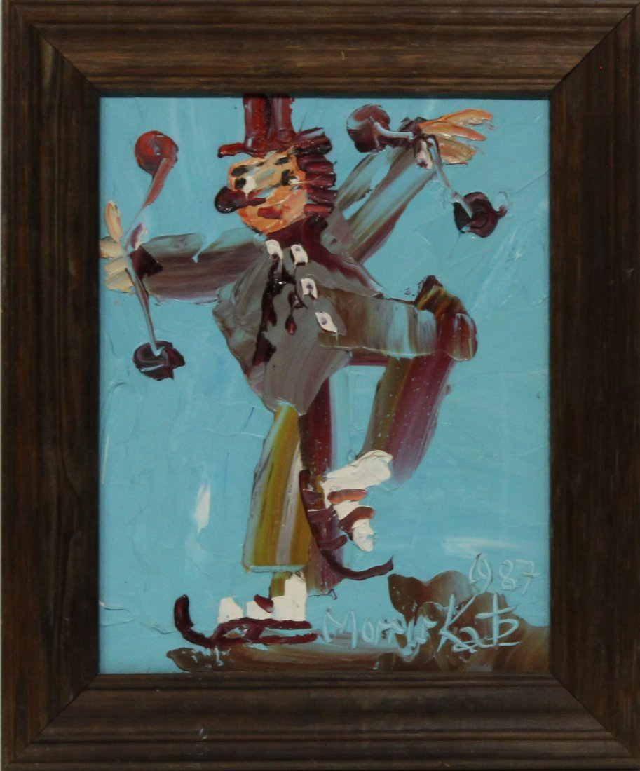 Morris Katz 1987 Oil Painting 14 11 ice skating clown