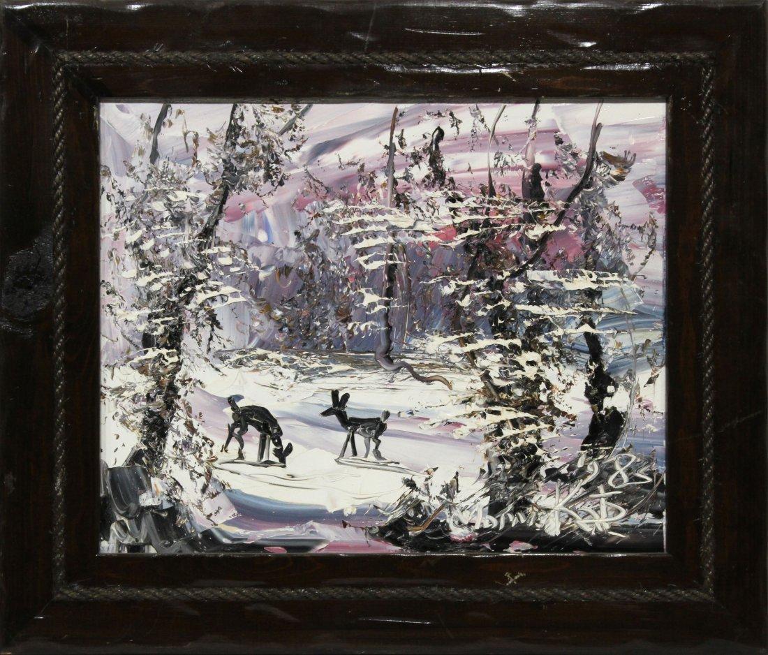 Morris Katz 1985 Original Oil Painting snow scene
