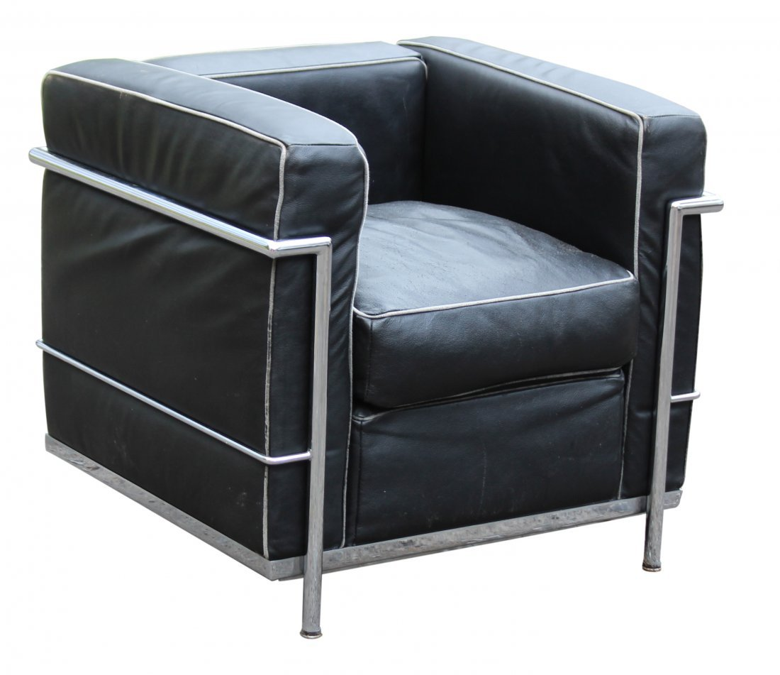 CORBUSIER [after] CHROME & BLACK LEATHER CUBE CHAIR