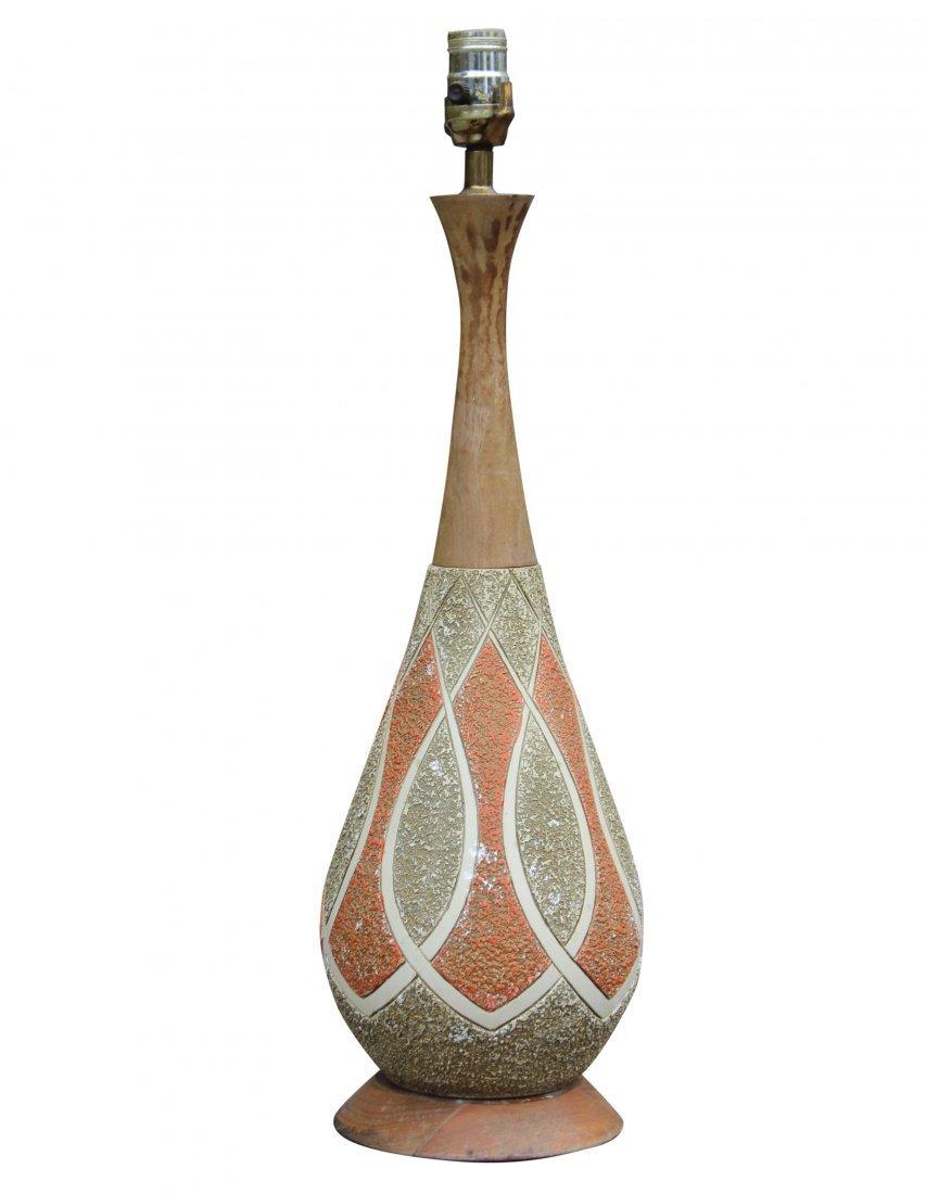 Mid-century Modern Ceramic Lamp on Teak Base