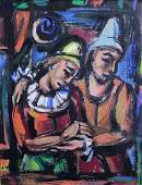 GEORGES ROUAULT 1871-1958 [attributed] Gouache 2 Clowns
