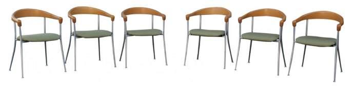 Six 6 Midcentury modern horseshoe bent wood chairs