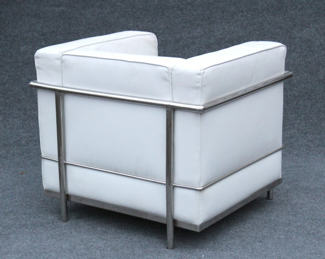CORBUSIER [after] CHROME & WHITE LEATHER CUBE CHAIR