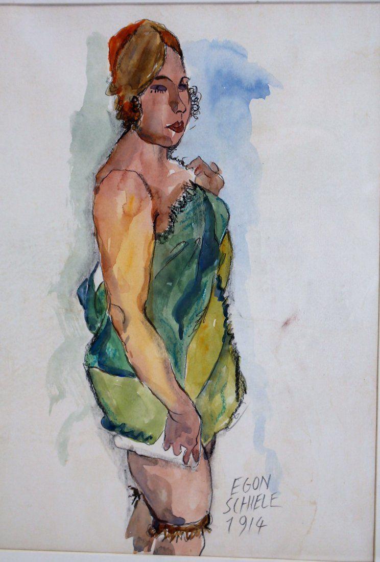 EGON SCHIELE 1914, [attributed] Watercolor, WOMAN