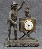 Rare FIGURAL CLOCK: ORGAN GRINDER, MONKEY, & VENDOR