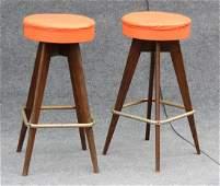 Pair MID CENTURY MODERN BAR STOOLS Orange Upholstered